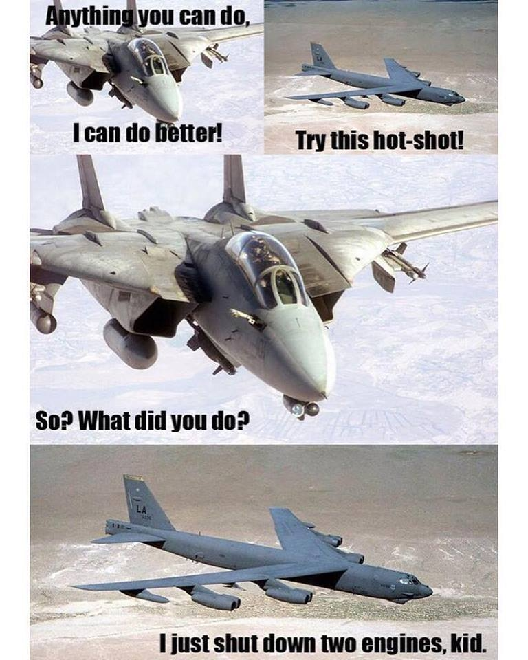 F-15 trying to mock B-52