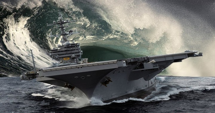 Footage of USS Kitty Hawk Aircraft Carrier through Huge Waves During Massive Storm at high speed