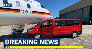 Ground vehicle crashed into German Air Force plane carrying Angela Merkel