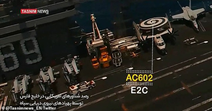 Iran Revolutionary Guard release video of drone SPYING on U.S. aircraft carrier