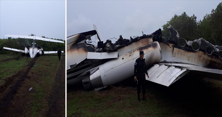 PNC Guatemala located a suspicious partially burnt Gulfstream jet on an illegal strip
