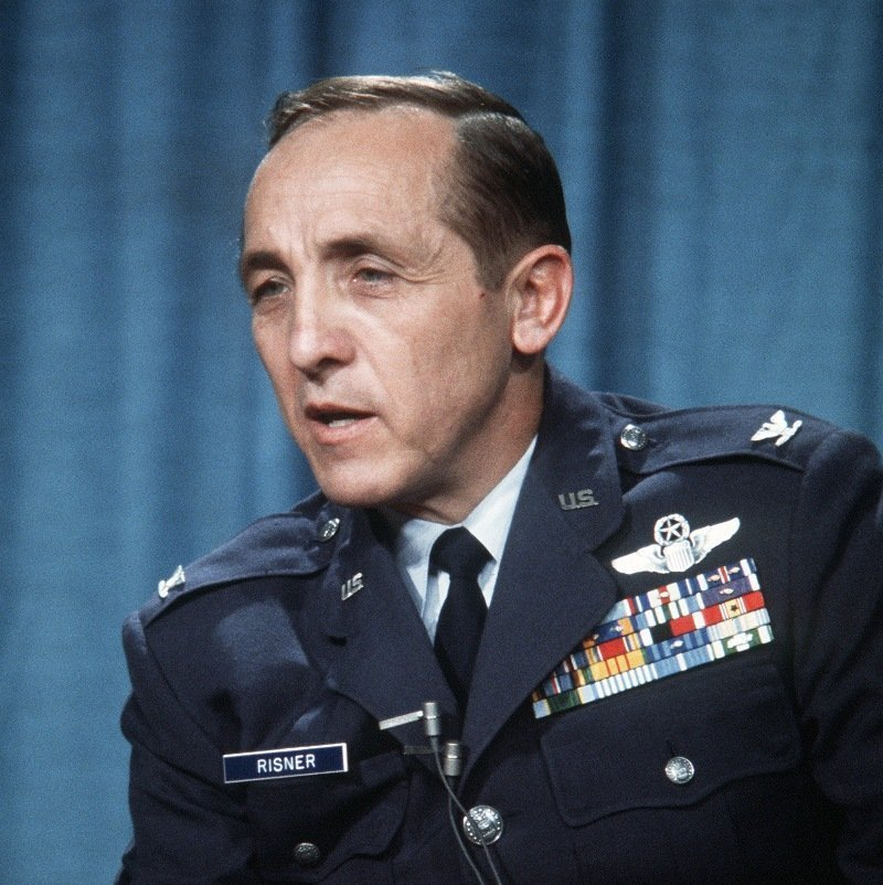 """""""Former POW and U.S. Air Force COL Robinson Risner, (Captured 16 Sep 65) answer questions at a press conference. Col Risner was released by the North Vietnamese in Hanoi on 12 Feb 73."""""""
