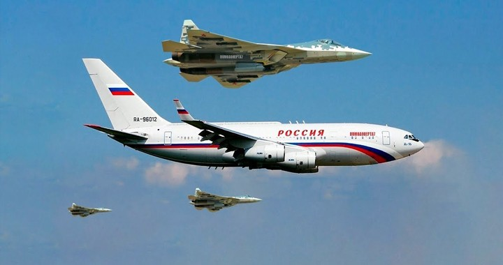 Six Sukhoi Su-57 Fighter Jets escorted Putin's Plane To Military