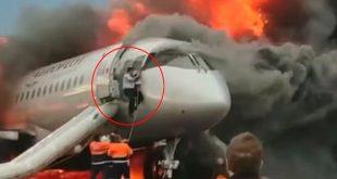WATCH Russian Aeroflot Jet's Co-Pilot Climb Back Into Burning Plane to save the captain