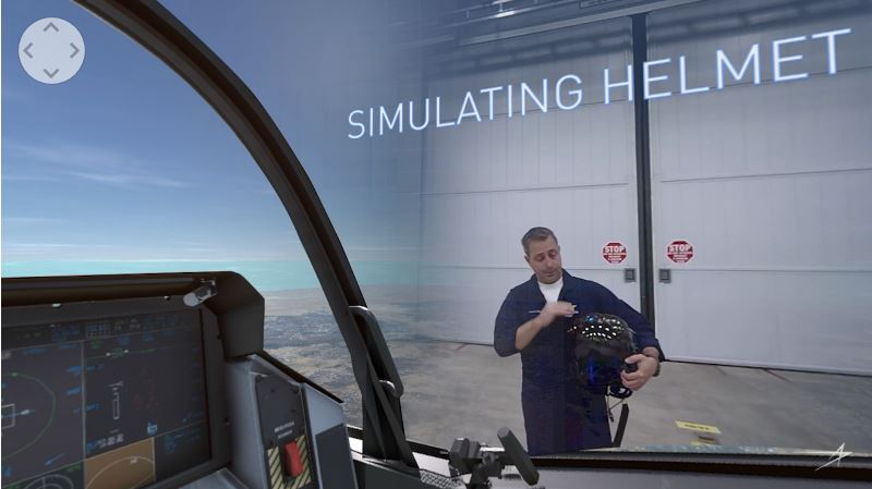 The best part of the video, however, is when Wilson uses the 360-degree nature of the video to show how the F-35 helmet projects an augmented reality view across the pilot's field of view. The video simulates the viewer actually sitting in the F-35 cockpit, with colored icons denoting aircraft in the and targets on the ground. This allows the pilot to maintain situational awareness while continuing to remain focused on flying the aircraft.