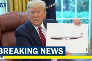 Donald Trump unveils his new patriotic Air Force One Paint Job during a television interview
