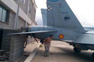 F/A-18 Hornet fighter jet damaged after hitting wall due to Technician mistake at Gando Airbase