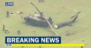Japan Ground Self-Defense Force Bell UH-1J Huey helicopter makes hard landing at Tachikawa air base