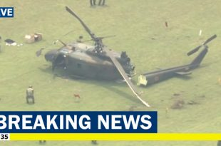 Japan Ground Self-Defense Force Bell UH-1J Huey helicopter makes hard landing at Tachikawa air base