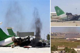 Libyan Arab Air An-124 plane was destroyed by RPG fire during military clash at Tripoli Airport