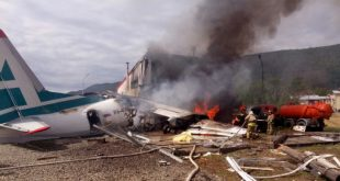Russia plane with 46 on-board crashes into building during Landing