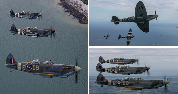 Spitfires fly over the white cliffs of Dover to mark D-Day 75th