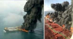 Two Tankers on fire off the coast of Iran after apparent torpedo attack
