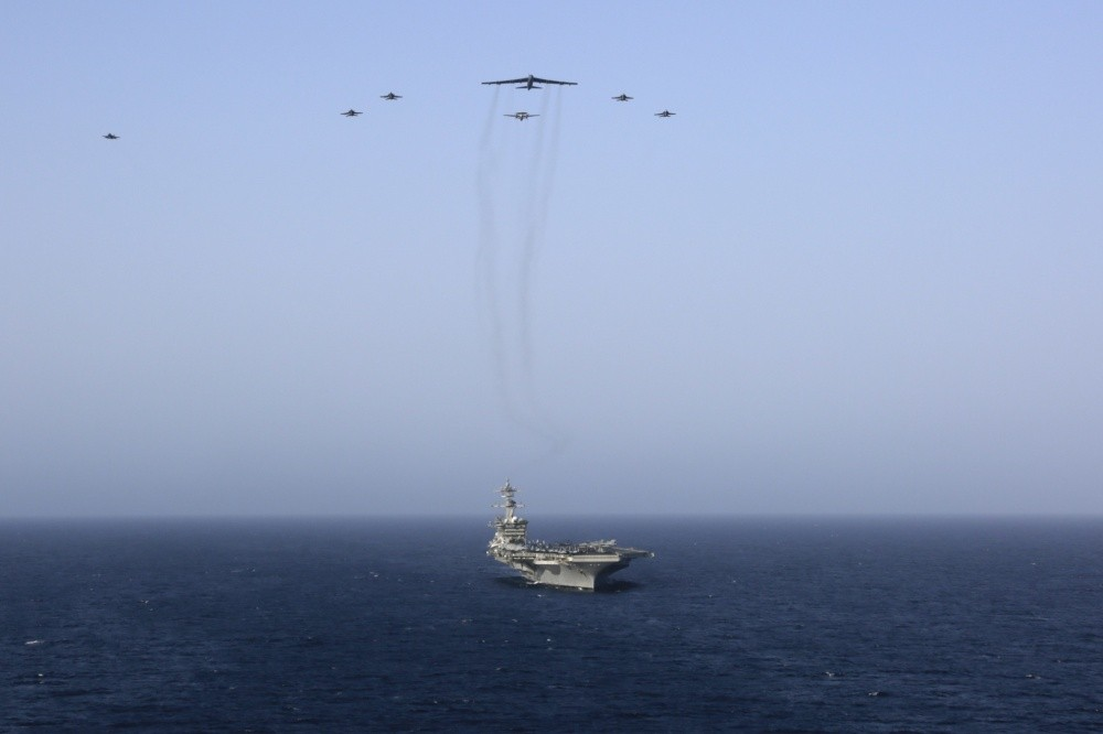 US Navy carrier strike group and US Air Force bombers conducted simulated strike drills near Iran