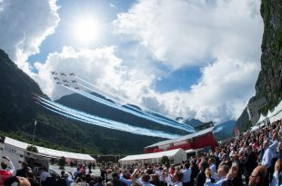 Patrouille Suisse aerobatic team of the Swiss Air Force mistakenly Performs Flyover At The Wrong Place