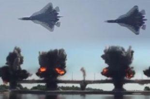 Sukhoi Su-57 fighter jet in action against Russian Military Pontoon-Bridge Fleet
