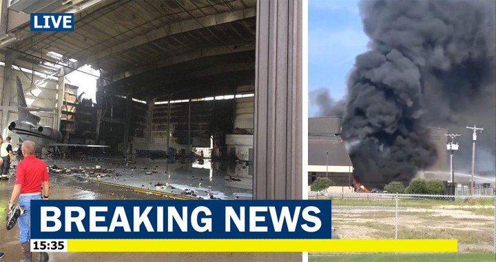 Ten dead after plane crashed into hangar during takeoff at Dallas-Addison Airport