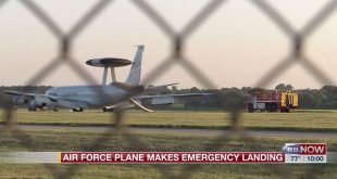U.S. Air Force Boeing E-3B Sentry makes emergency landing at Lincoln Airport after engine fire