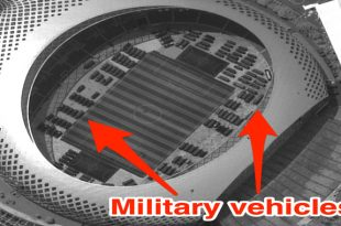 Satellite imagery Spotted hundreds of Chinese military vehicles at a soccer stadium near the Hong Kong border