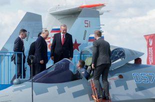 Erdoğan Inspected Russian fifth-generation Su-57 fighter jet at 2019 MAKS Air Show
