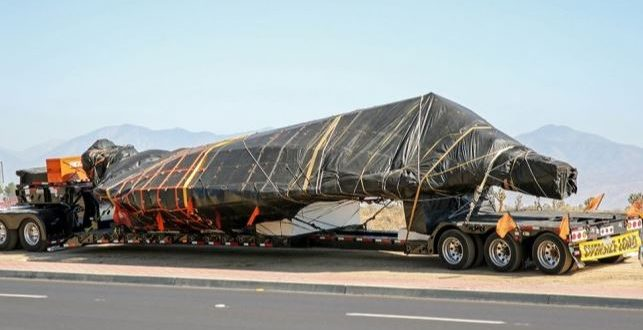Mysterious F-117 Nighthawk Fuselage Under Protective Cover Spotted in Transit in California