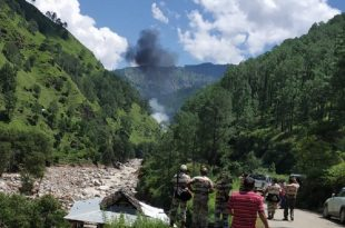 IAF Helicopter carrying flood relief mission Crashes in Uttarkashi After Hitting Electric Wires