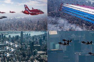 Epic Photos & Videos of Red Arrows, Thunderbirds, F-22 & F-35 Demo Teams New York Flyover