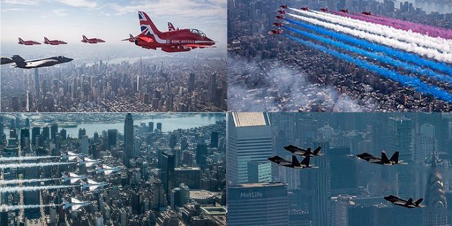 Epic Photos & Videos of Red Arrows, Thunderbirds, F-22 & F-35 Demo Teams New York Flyover