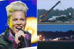 Plane carrying singer Pink's crew 'crash-lands in Denmark' after bursting into flames