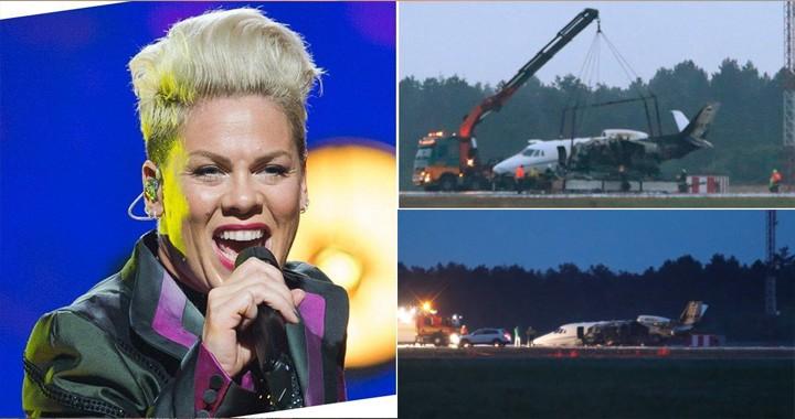 Plane carrying singer Pink's crew 'crash-lands in Denmark' after bursting into flames