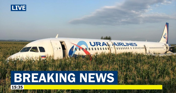 Russian Ural Airlines plane with 234 people on board Crash-Lands in Cornfield