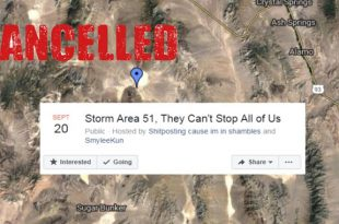 """Facebook Removes """"Storm Area 51"""" Facebook Event Page for """"Violating Community Standards""""."""