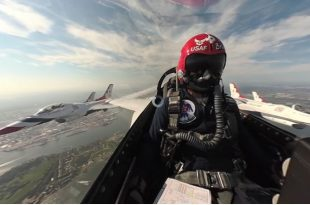 U.S. Air Force Thunderbirds posted 360-degree Cockpit video of New York Hudson River Flyover
