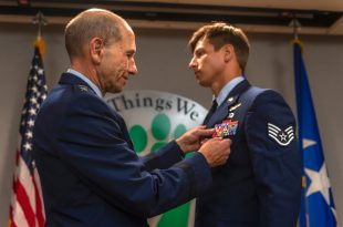 Air Force Staff Sgt. Aaron Metzger receives Bronze Star for fighting off Taliban for hours while twice wounded