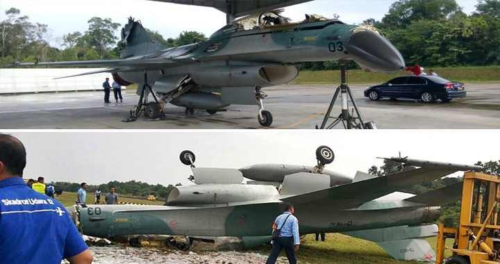 Alleged Photos Shows Damaged Indonesian Air Force F-16B During Runway Overrun