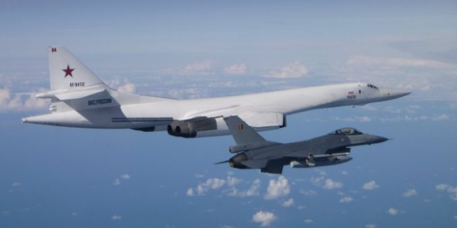 Belgian Air Force F-16s Intercepted two Tu-160s and two Su-27s above the Baltic Sea
