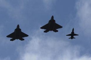 U.S. Air Force evacuates Langley Air Force F-22 Raptor & T-38 Talon aircraft to Rickenbacker Air National Guard Base.