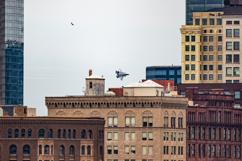US Air Force New F-35 Demo Team Flies Over Cleveland During Air Show