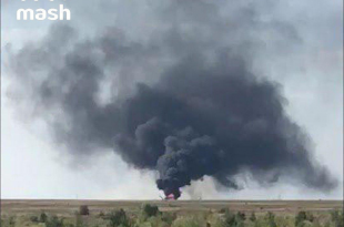 Russian Air Force Mil Mi-8 helicopter crashes at the airport near Saratov