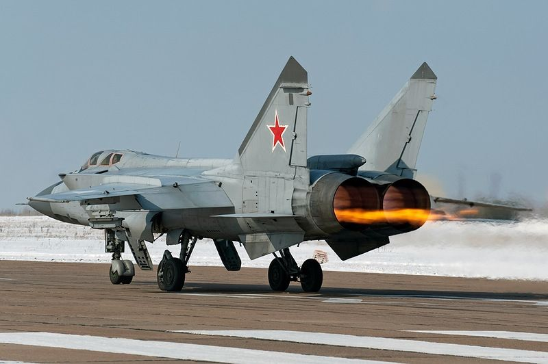 Russian Air Force MiG-31 Foxhound Engine caught fire on landing