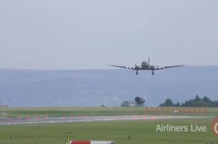 Royal Air Force Douglas Dakota III plane performed an emergency landing after engine problems