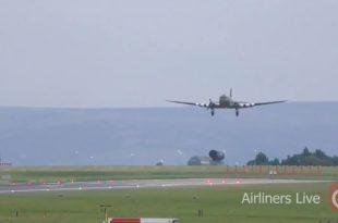 Royal Air Force Douglas Dakota III plane performed an emergency landing after engine problems