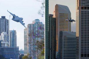 RAAF Aircraft Low-Level Flying Displays Over Brisbane For Sunsuper Riverfire 2019