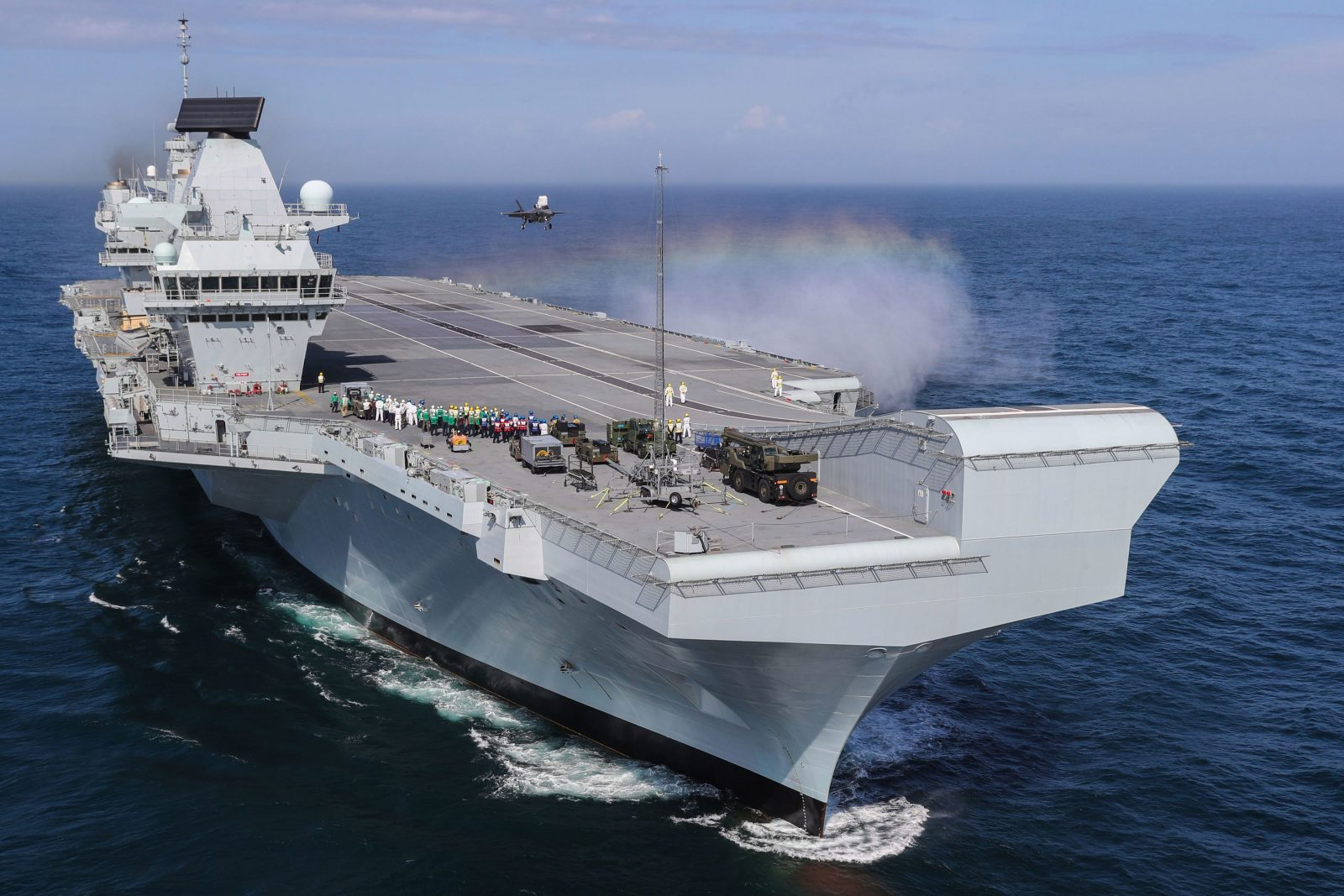 RAF new F-35B fighter jet take off and and on HMS Queen Elizabeth for first time