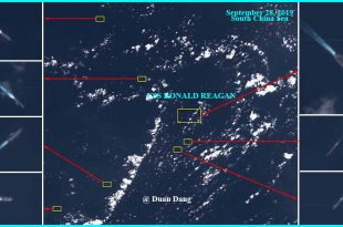 Alleged Satellite Images Shows U.S. Aircraft Carrier Surrounded By 7 Chinese Warships In The South China Sea