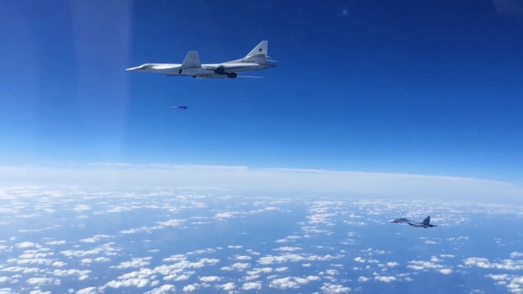 Russian Tu-160 Supersonic Bomber Outrun Two U.S. F-35 Fighter Jets
