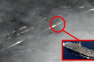 Satellite Imagery Shows U.S. Navy Aircraft Carrier Chased By 20 Iranian Fast Attack Boats