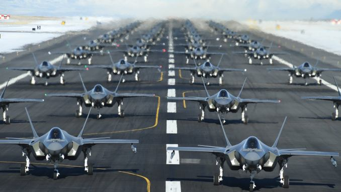 """52 F-35 Stealth Fighters Take Part In """"Elephant Walk"""" Drill To Take Out Iran's Missile Defence"""