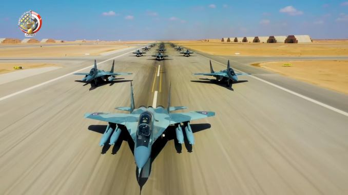 """16 Egyptian Air Force MiG-29 Jets Performed """"Elephant Walk"""" During Qadir-2020 Exercise"""