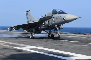 Indian Naval LCA Tejas Prototype Lands On INS Vikramaditya For First Time
